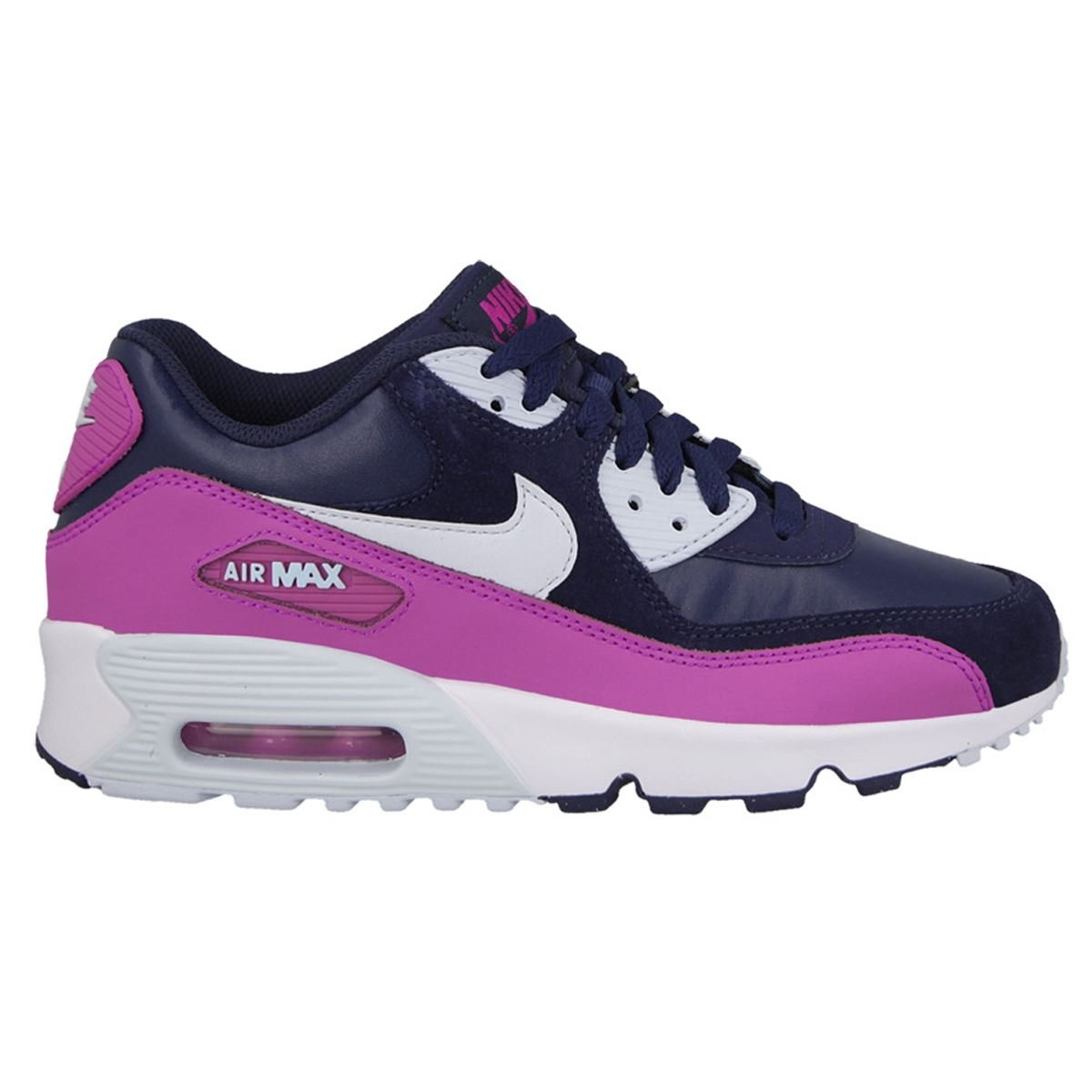 Nike Youths Air Max 90 Leather Multi Suede Trainers 39 EU
