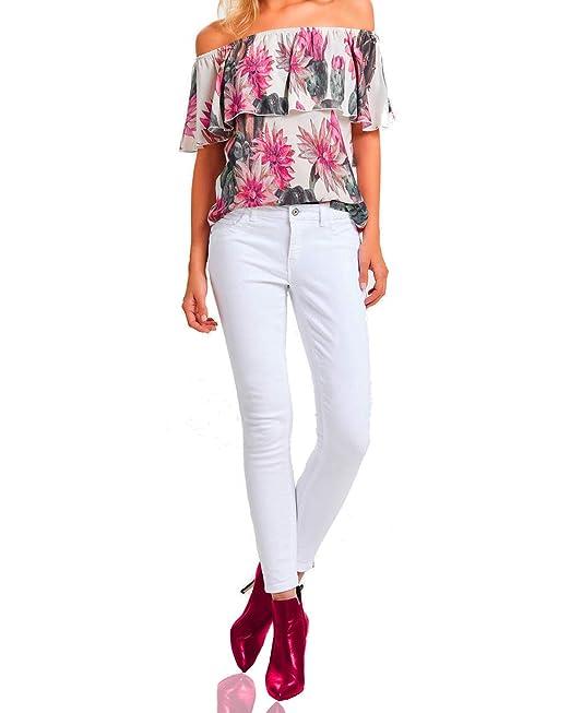 Weiße Damen Jeans-Hose Arbeitshose sexy Reißverschluß-Pant  Amazon.de   Bekleidung 8cd5f4f598