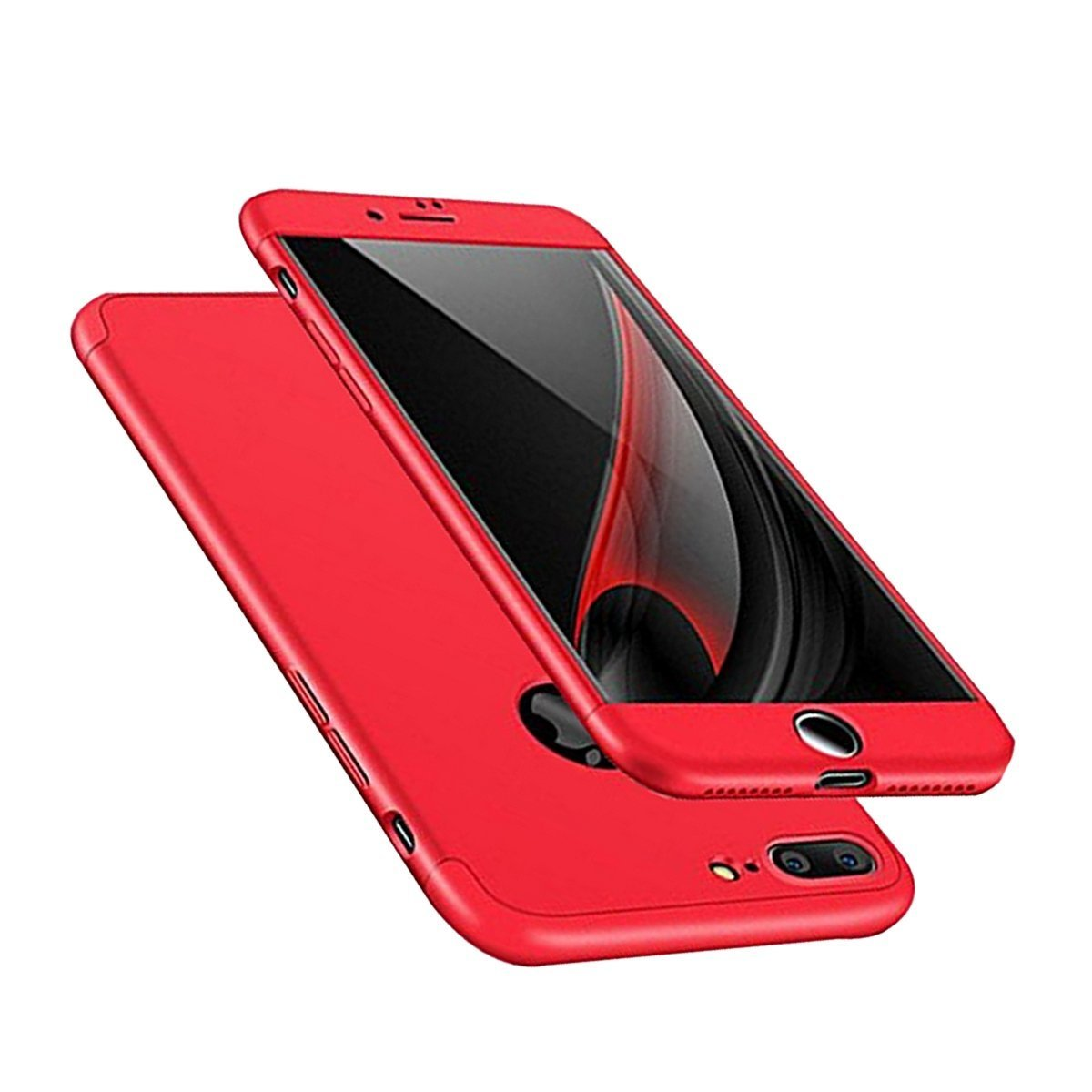 iPhone 8 Plus Case, Aicase AICase 3 in 1 Ultra Thin and Slim Hard PC Case Anti-Scratches Premium Slim 360 Degree Full Body Protective Cover for Apple iPhone 8 Plus 5.5 Inch (2017) (Red)