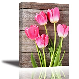 """Tulip Wall Art for Bedroom, PIY Modern Flowers Canvas Prints with Vintage Wood Board Background, Rustic Picture Decor (1"""" Thick Artwork, Waterproof, Bracket Mounted Ready to Hang)"""