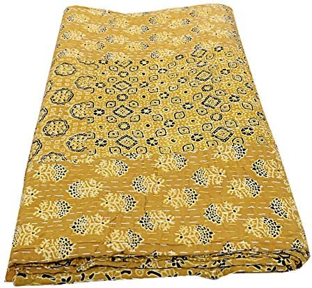 SHUBHARAMBH ENTERPRISES Floral Patchwork Kantha Hand Stitched Cotton Kantha Bedspread Throw Blanket Indian Blanket Hippie Queen Kantha Quilt