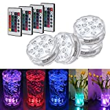 Waterproof Submersible LED Lights , RGB Multi Color Changing Mood Lights With Remotor Battery Powered, for Aquarium, Vase, Pond, Fish Tank, Base, Party, Halloween, Christmas Decor Lighting (4 pack)