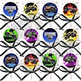 Monster Truck Party Favors Supplies Decorations Monster Jam Lollipops with Black Satin Ribbon Bows -12 pieces