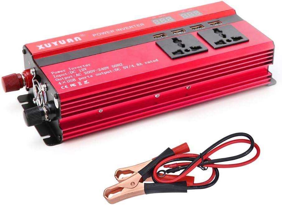 Inversor de coche convertidor de energ/ía solar universal 12V 24V Inversor de energ/ía solar de coche 4000W Convertidor de energ/ía 12V a 220V