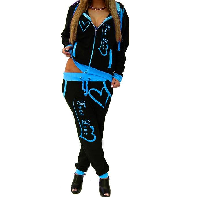 Mtydudxe Mujeres Chándal True Love Imprimir Abrigo con Capucha Pantalón Suelto Conjunto Joggers Sweatsuit: Amazon.es: Ropa y accesorios