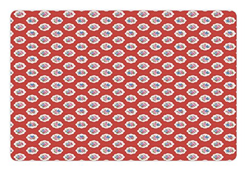Dot Corsage - Lunarable Shabby Chic Pet Mat for Food and Water, Romantic Floral Corsage Designs on Red Colored Background with Retro Polka Dots, Rectangle Non-Slip Rubber Mat for Dogs and Cats, Multicolor