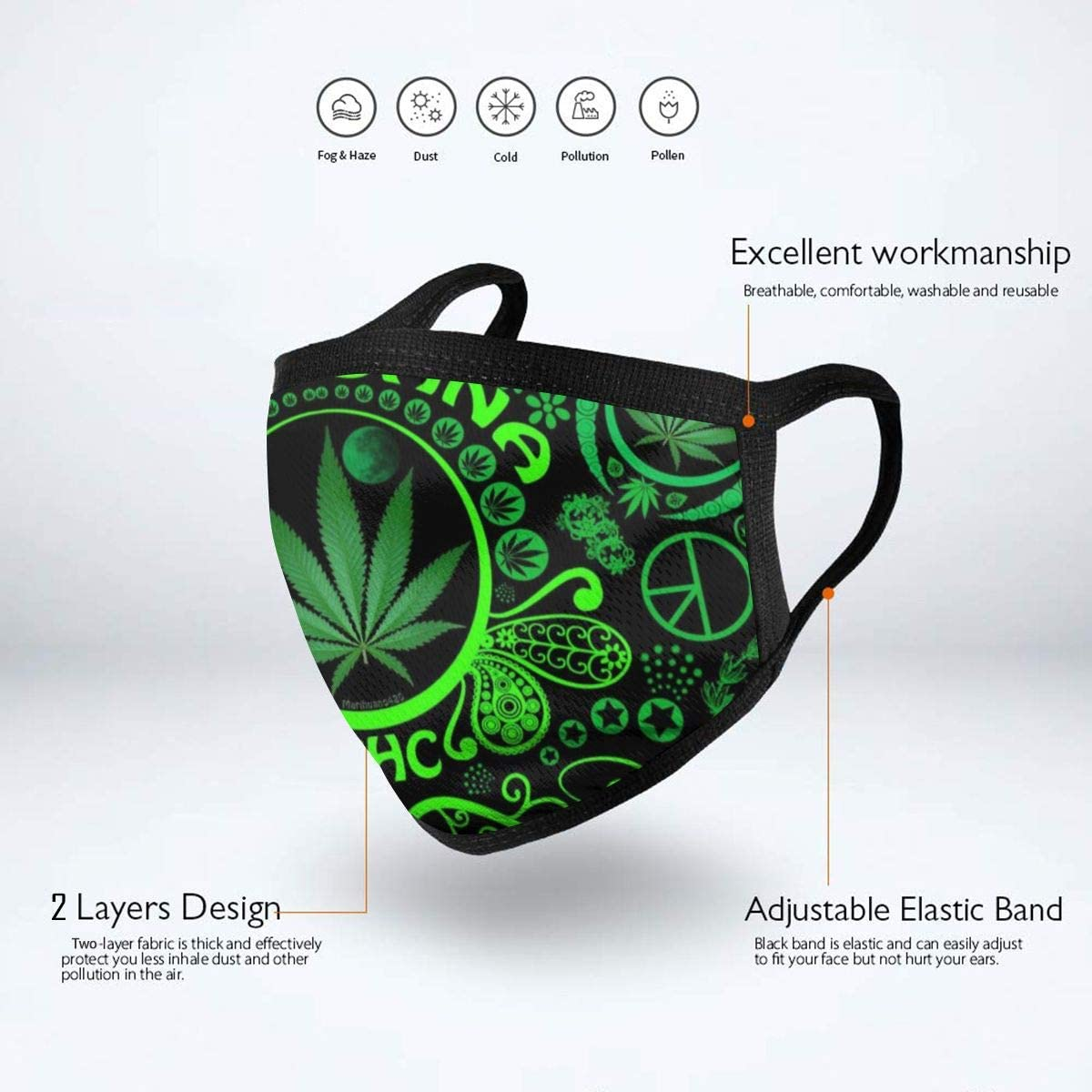 Marijuana Leaf Weed Unisex Reusable Graphics Polyester Anti Dust Washable Facial Warmer For Camping At Amazon Men S Clothing Store