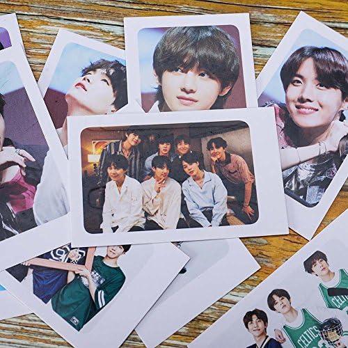 Bestomrogh KPOP BTS Concert Album Photos Nouvelle Carte LOMO Petite Carte Polaroid Costume de Corde de Chanvre Clip en Bois
