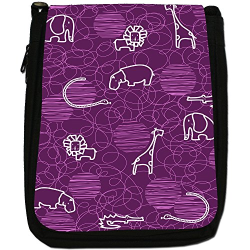 Giraffe Medium Lion Bag Drawing Elephant Size Black Purple Hippo Canvas Shoulder xrZHCIx