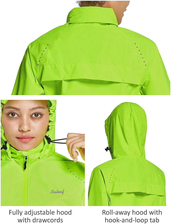 BALEAF Women's Cycling Jackets Hooded Running Biking Raincoat Windbreaker Waterproof Windproof Reflective: Clothing
