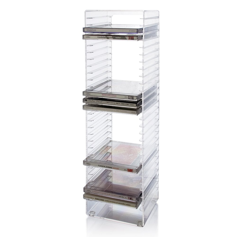 Clear Plastic CD Tower   Holds 30 Standard CD Jewel Cases