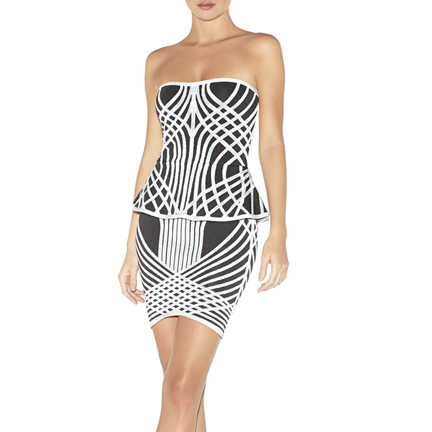 Hlbcbg Rayon Women's Bandage Bodycon Dress Cocktail Party Dress 2191