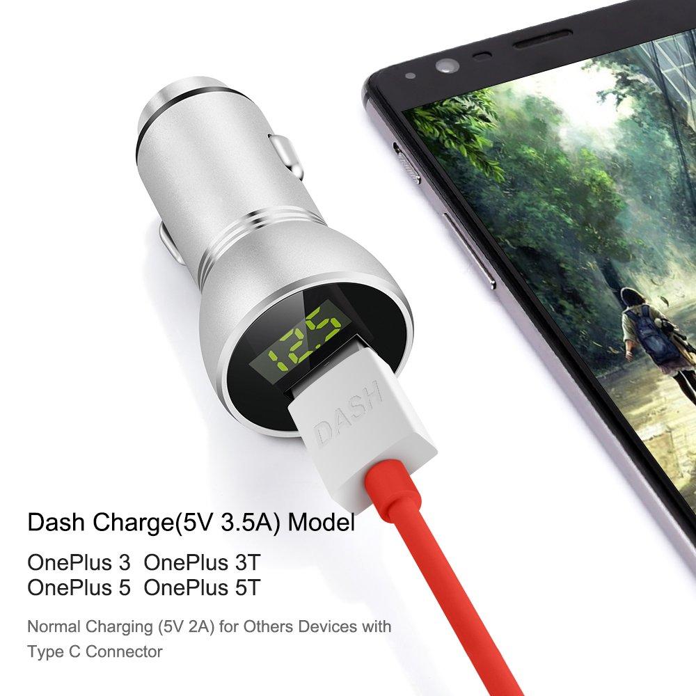 OnePlus coche cargador, iMangoo OnePlus Fuente de alimentación de 5 V 3.5 A Dash Cargador OnePlus USB C Dash Cable 1 m/3.3 FT High Speed Cable de ...