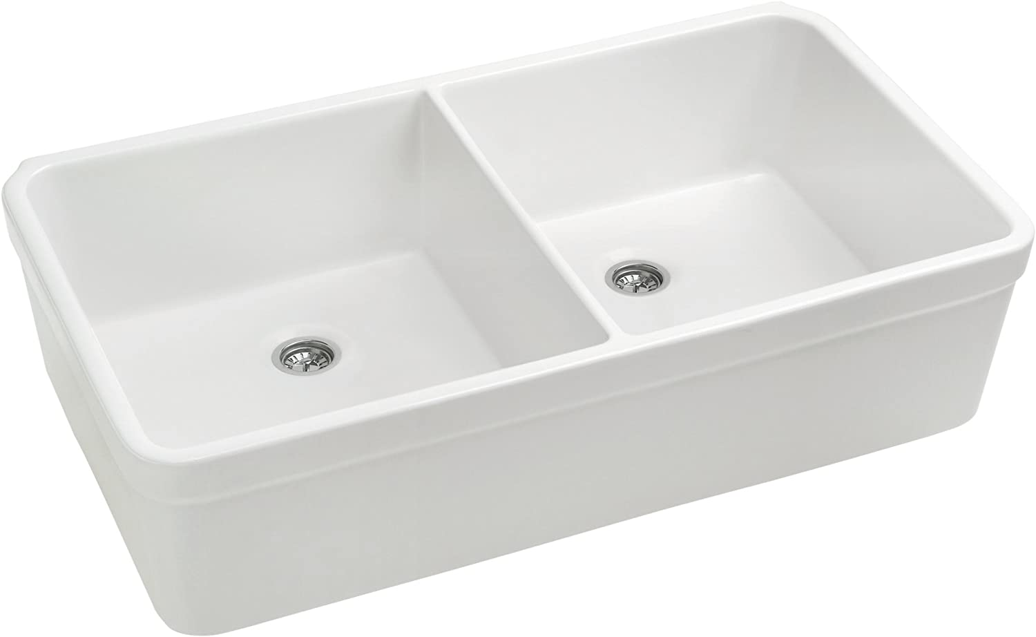 Whitehaus WHB5122 WHB5122Basichaus Non Reversible Double Bowl Fireclay Sink with Decorative 2 Lip 3 Center Drain, White