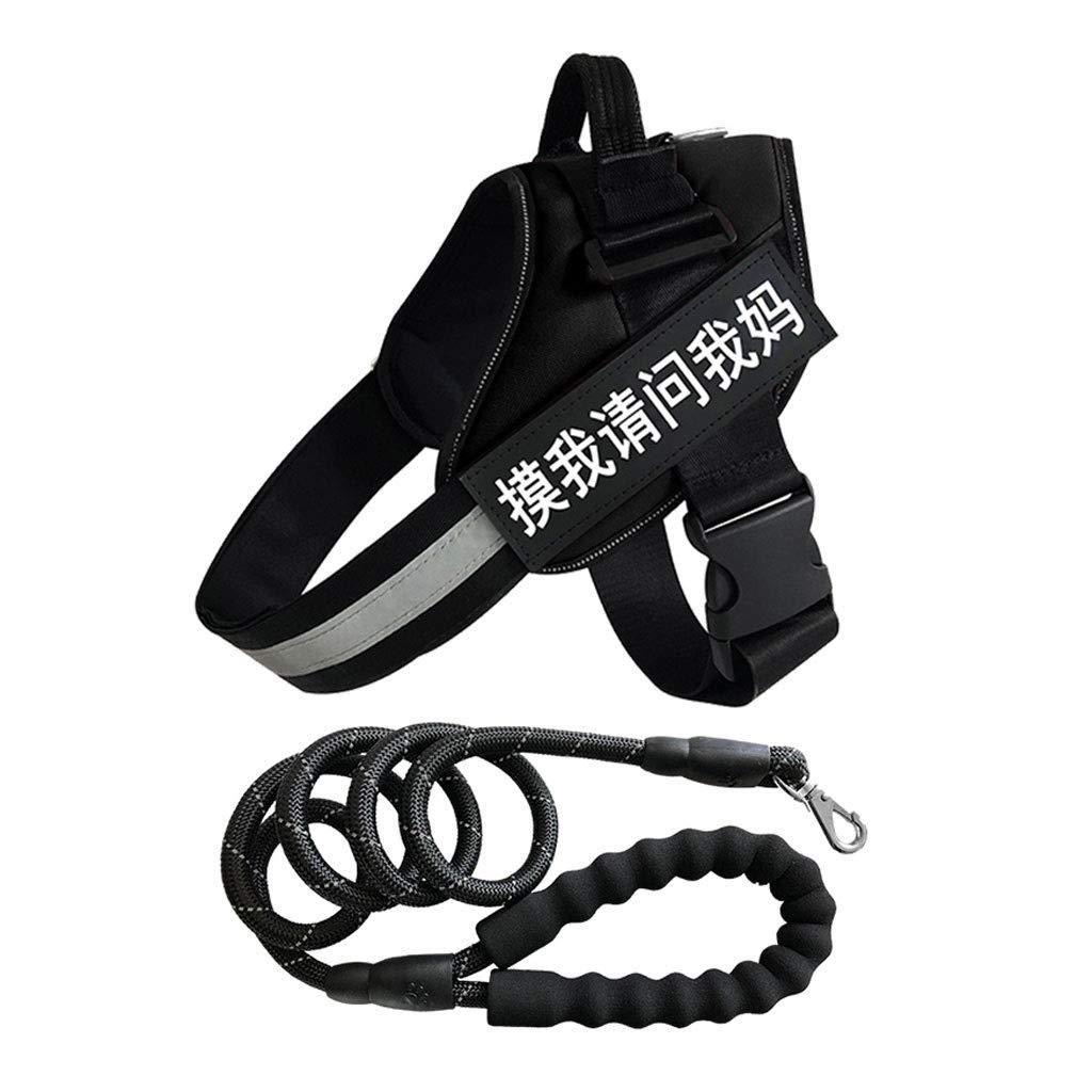 Black XL Black XL Vest Type Traction Rope Outdoor Household Large Dog Nylon Chain Adjustable Ventilation Hyena Anti-Shock Chest Strap (Seven colors Optional) (color   Black, Size   XL)