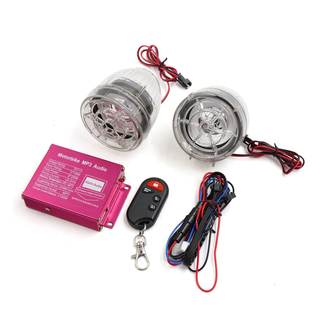 uxcell 2pcs Clear Motorcycle Anti-theft Alarm Stereo Audio MP3 Amplifier Speaker Player