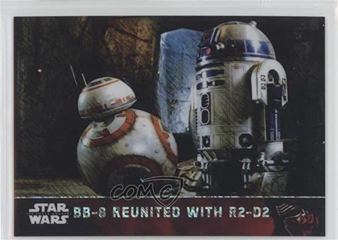 Star Wars Force Awakens Chrome Refractor Base Card #73 BB-8 Reunited With R2-D2