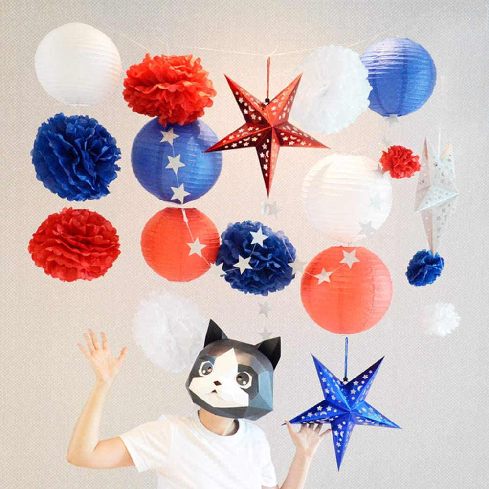for Independence//Presidents Day BllalaLab 4th of July American Patriotic Election Party Wall Decorations 19 pcs Includes White Red Blue Paper Lanterns Pom Poms 3D Stars /& Silver Glitter Star Garland