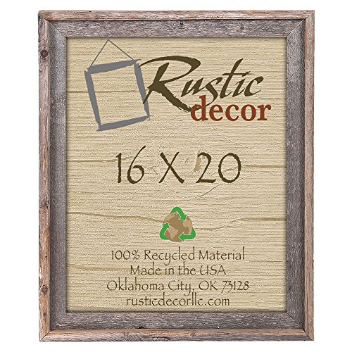 Recycled Wood Picture Frame - 16x20 Reclaimed Barn Wood Signature Wall Frame