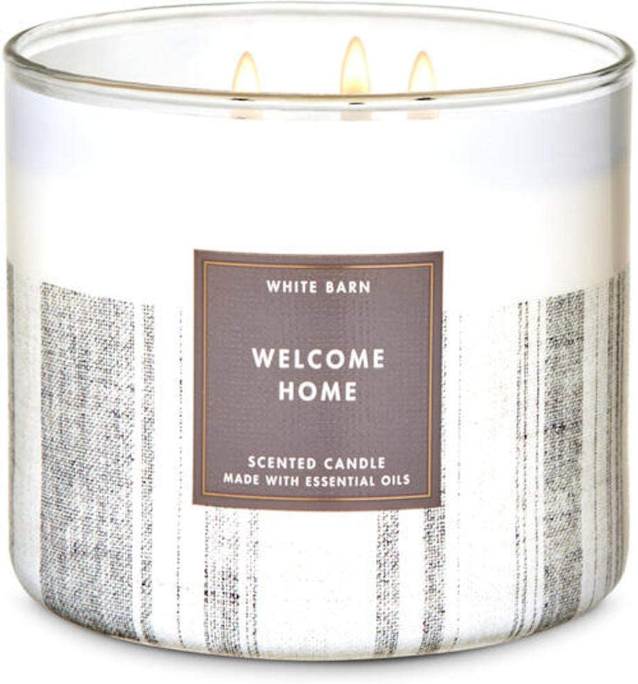 White Barn Candle Company Bath and Body Works 3-Wick Scented Candle w/Essential Oils - 14.5 oz -Welcome Home (Cinnamon Apple Butter Clove Buds and Brown Sugar)