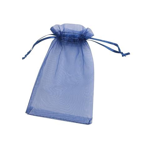 ONW Bolsas de Organza para Envolver Regalo Detalle de Boda Joyas Caramelo Dulces Bolsitas para Regalos ,Azul Oscuro 100 PCS 15x20 cm