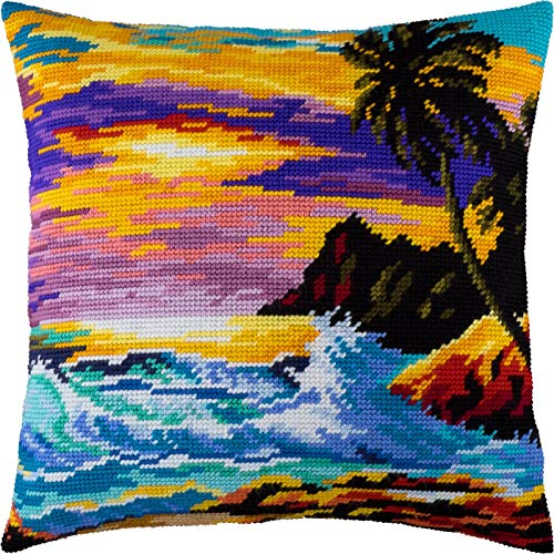 Tropical Sunset. Cross Stitch Kit. Throw Pillow Case 16×16 Inches. Home Decor, DIY Embroidery Needlepoint Cushion Cover Front, Printed Tapestry Canvas, European Quality. sea, Landscape