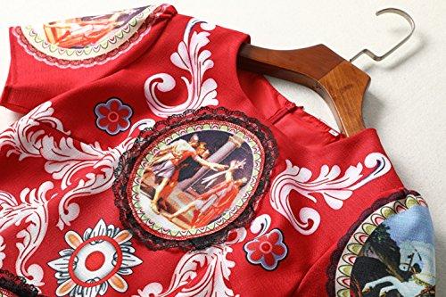 Cotylédons Women`s Robes Longues Col Rond Manches Courtes Robes Un Imprimé En Ligne
