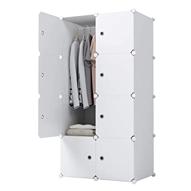 KOUSI Dresser Small Closet Wardrobe Drawer Storage for Clothes Small Wardrobe Storage for Small Spaces Clothes Storage Dresser, Capacious Customizable, White, 5 Cubes 1 Hanging Clothes