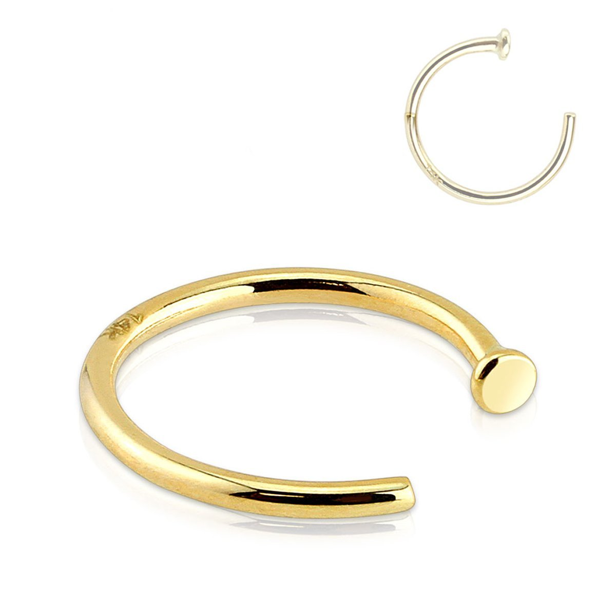 Forbidden Body Jewelry 20g 8mm Solid 14K Yellow Gold Nose Hoop Ring
