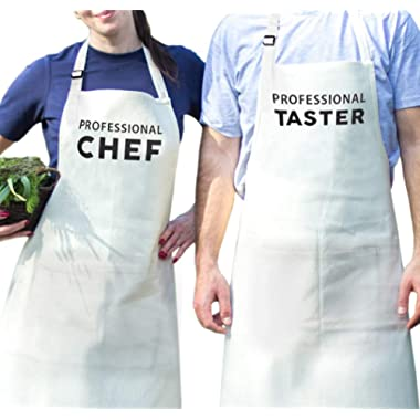Mr and Mrs Aprons Professional Chef and Taster Gift for Couples Wedding, Anniversary, Newlywed, His and Hers Cooking Chef Apron
