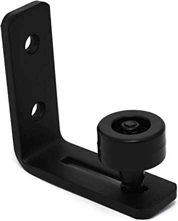 Flush to Floor DR Quality Products Extra Small Black Barn Door Bottom Floor Guide Adjustable Roller Hardware