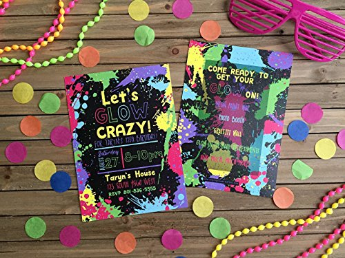 Neon Party Invitation - Set of 20 - Glow in the Dark Party Invite - Glow Party Invite -