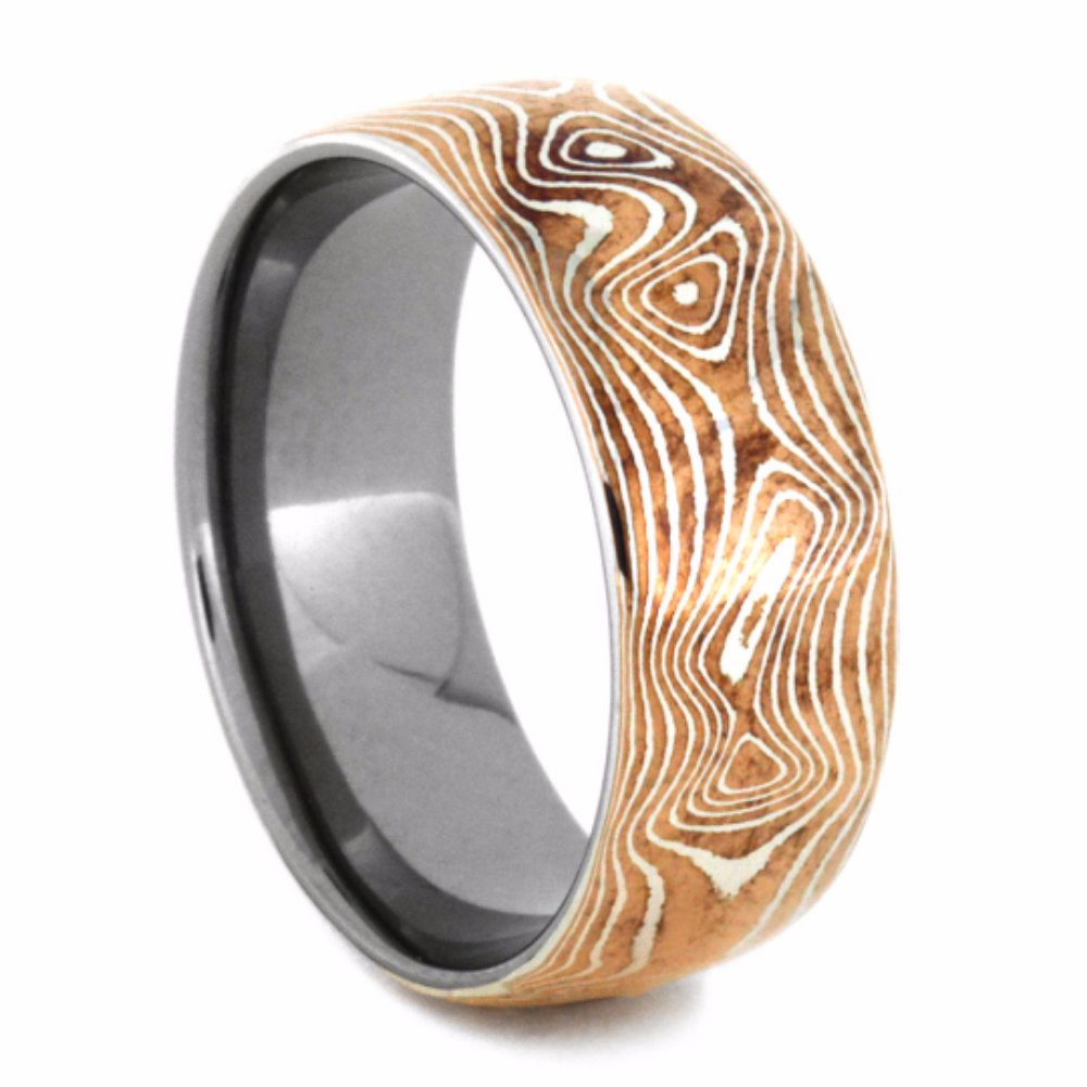Copper and Sterling Silver Mokume 7mm Comfort-Fit Titanium Wedding Band, Size 10.5 by The Men's Jewelry Store (Unisex Jewelry)
