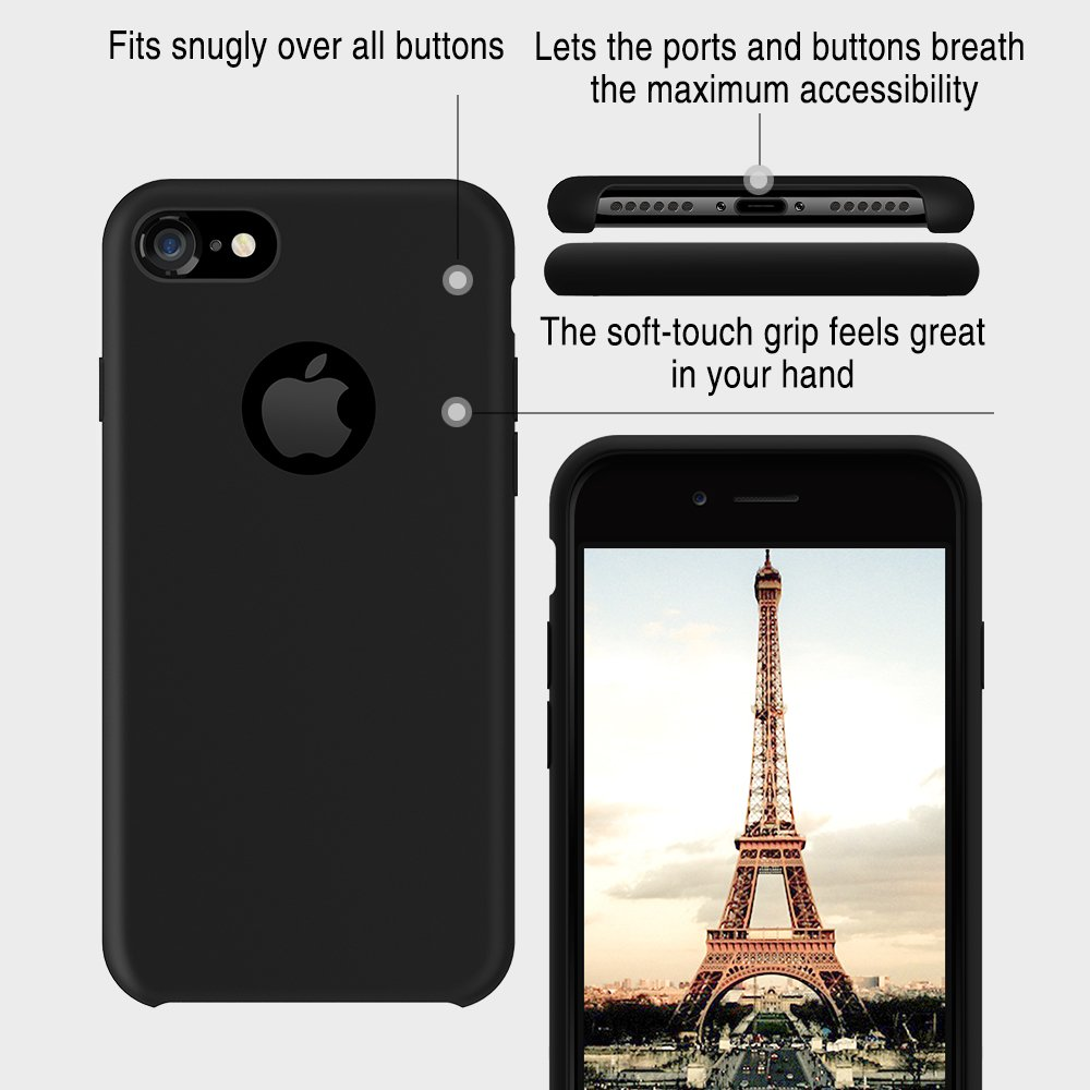 TORRAS [Love Series iPhone 7 Case/iPhone 8 Case, Liquid Silicone Gel Rubber Shockproof Case with Soft Microfiber Cloth Lining Cushion Compatible with iPhone 7 / iPhone 8, Black by TORRAS (Image #1)