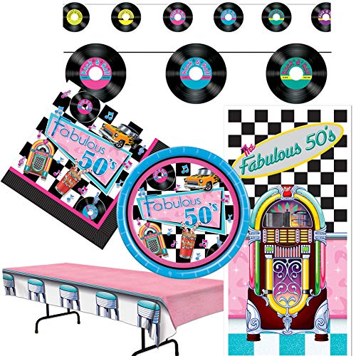 Sock Hop Party Supplies (50's Oldies Theme Sock Hop Party Supplies Decorations Plates Napkins Door Cover Tablecloth Banner Sign Set Kit)