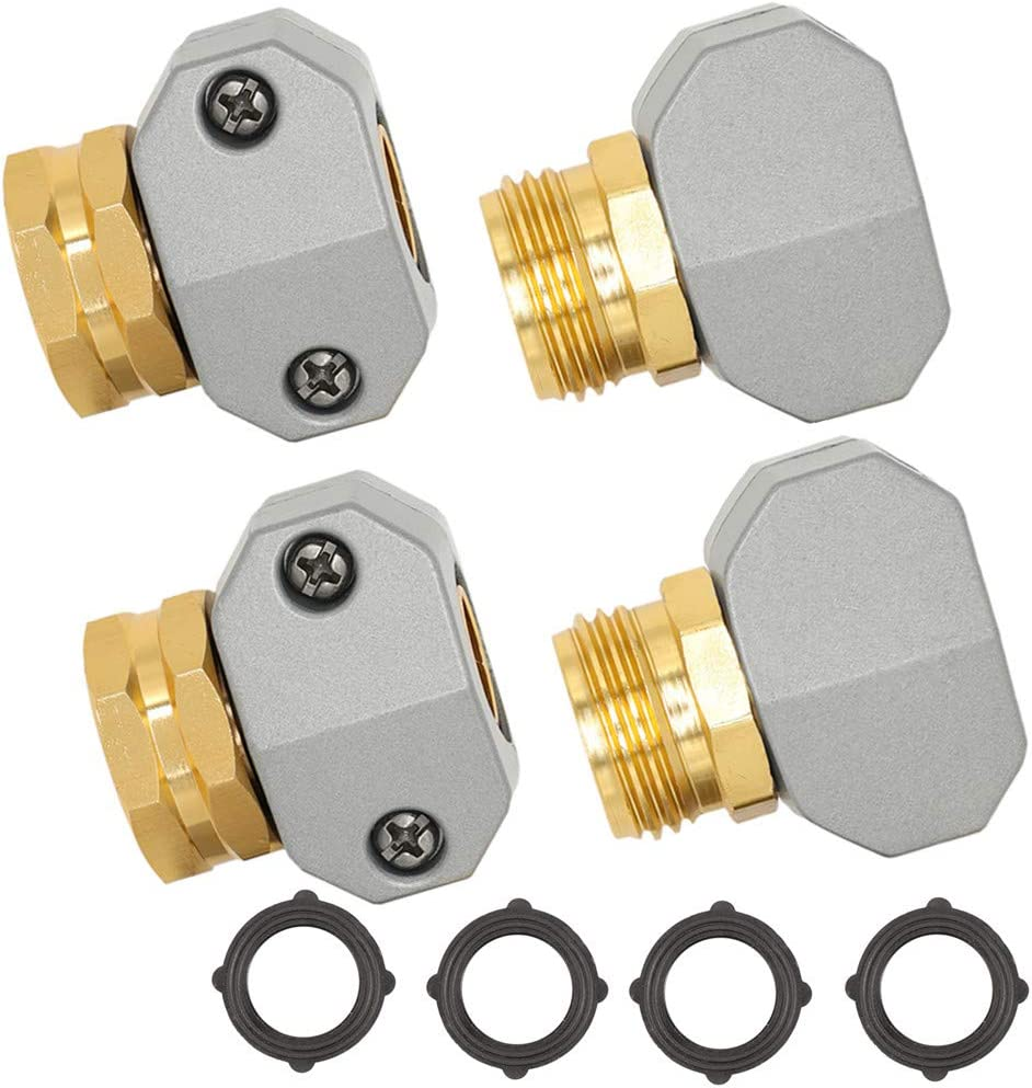 Garden Hose Repair Fittings, Aluminum Mender Female and Male Hose Repair Connector with Zinc Clamp.4 Pack with 4 Black washers