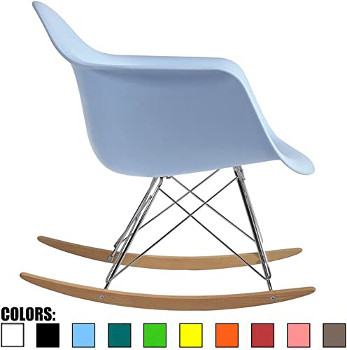 2xhome Blue Mid Century Modern Vintage Molded Shell Designer Plastic Rocking Chair Chairs Armchair Arm Chair Patio Lounge Garden Nursery Living Room Rocker Replica Decor Furniture DSW