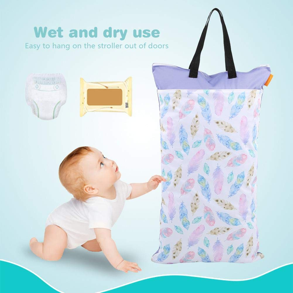 Borlai Large Hanging Wet//Dry Cloth Diaper Bag Waterproof Baby Inserts Nappy Laundry Storage Bag EF204