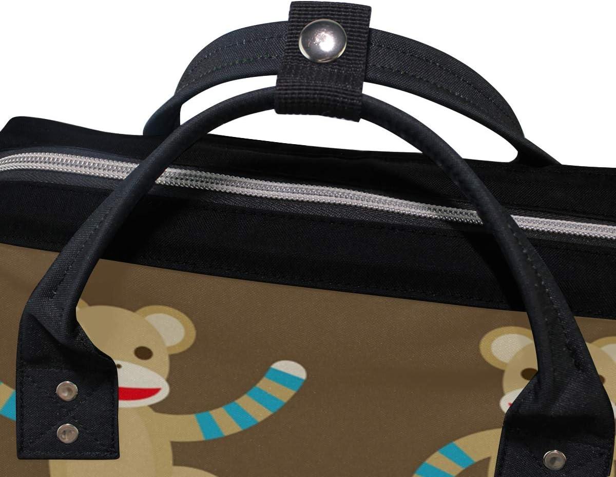 FAJRO Sock Monkeys Daypack Lightweight Canvas School Pack