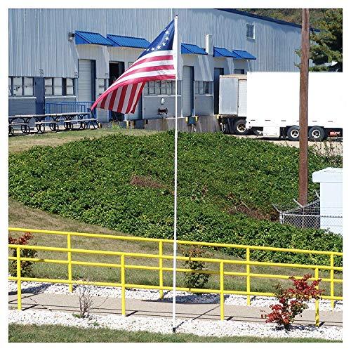 US Flag Store FTP16F 16ft Fiberglass Pole, White