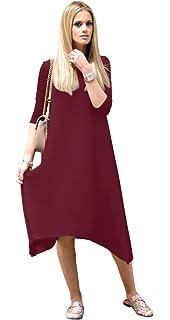 937719d9d3 Tabeez Women s Casual Asymmetrical Sharkbite Hem 3 4 Sleeve Midi Dress