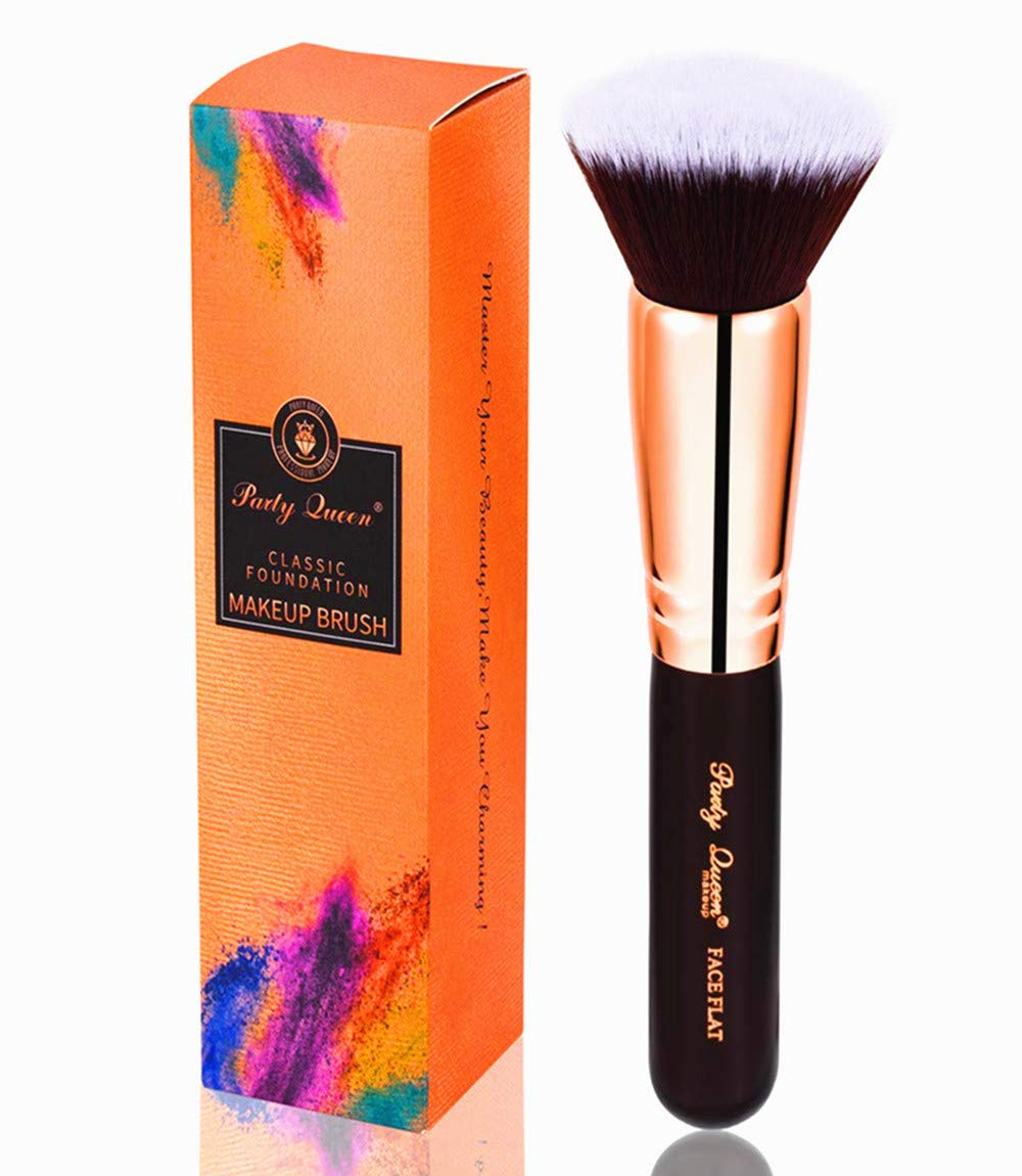Party Queen Foundation Makeup Brush-Luxury Copper Ferrule,Face Flat Top Kabuki Makeup Tool for Liquid, Cream, and Powder - Buffing, Blending Face Brush Tool