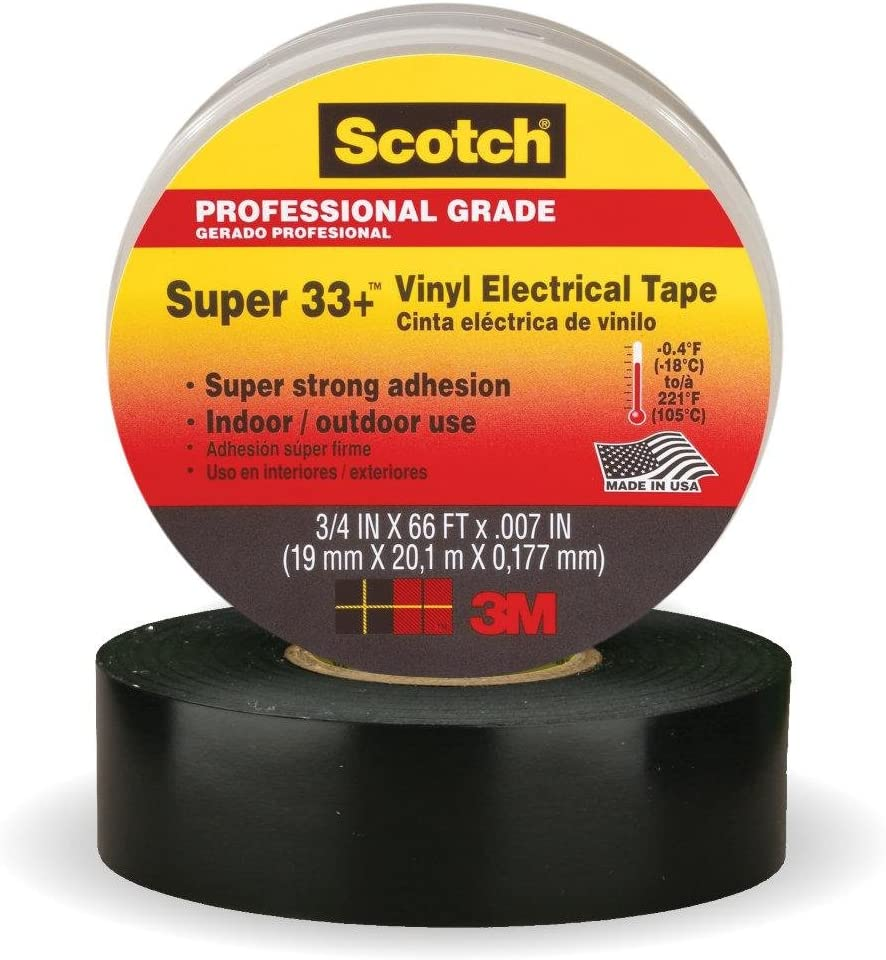 """, Scotch Super 33+ Vinyl Electrical Tape Pack of 10 3//4/"""" Width 20 Foot Length"""