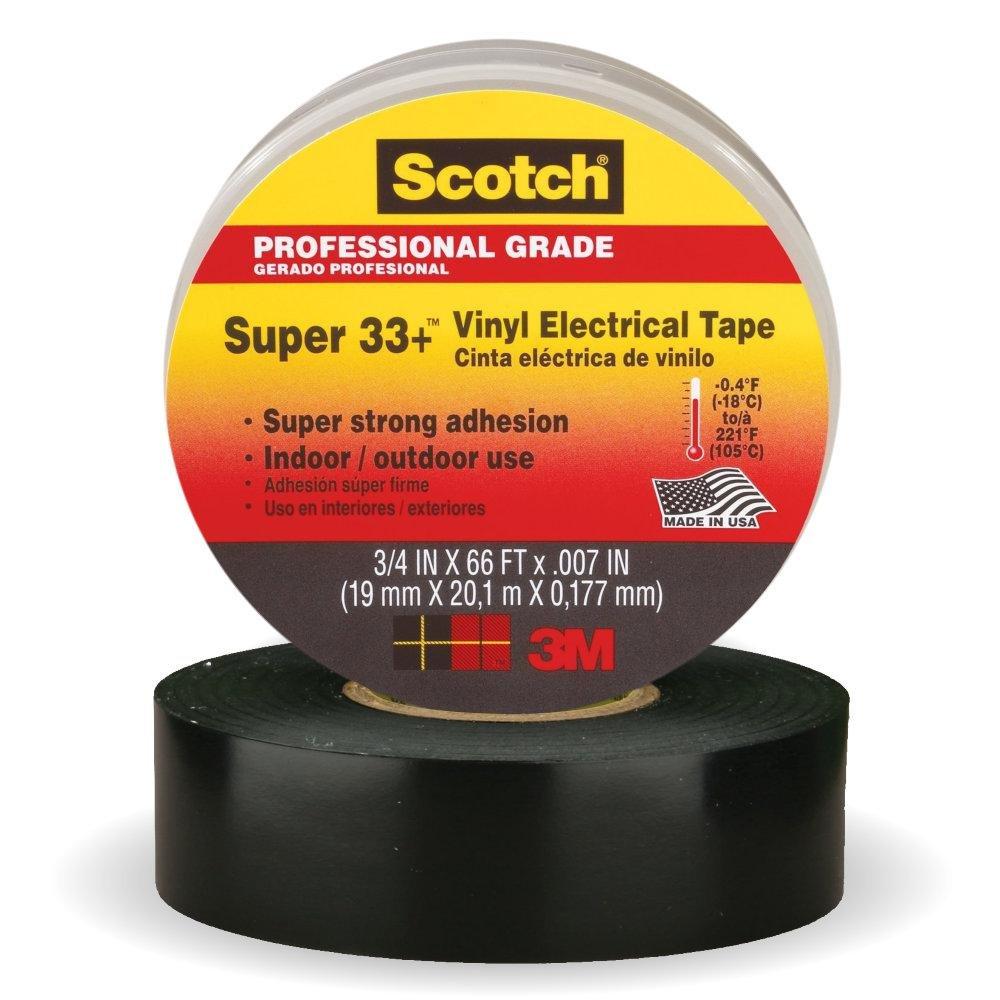 3M Scotch Super 33+ Vinyl Electrical Tape, .75-Inch by 66-Feet, 4-PACK