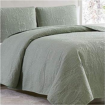 Amazon Com Mellanni Bedspread Coverlet Set Olive Green