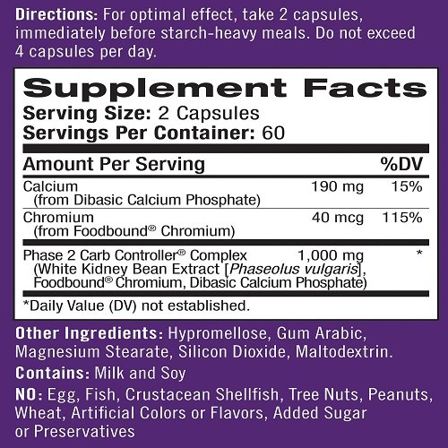 Natrol White Kidney Bean Carb Intercept Capsules with Phase 2 Starch Neutralizer, 120 Count by Natrol