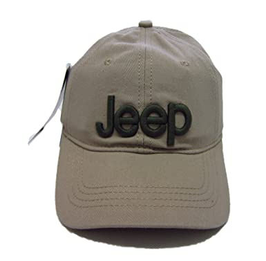 c86132f7dee72 Jeep Unisex Solid Color Adjustable Cutton Baseball Cap Outdoor Sunhat with  Front Logo (Beige)