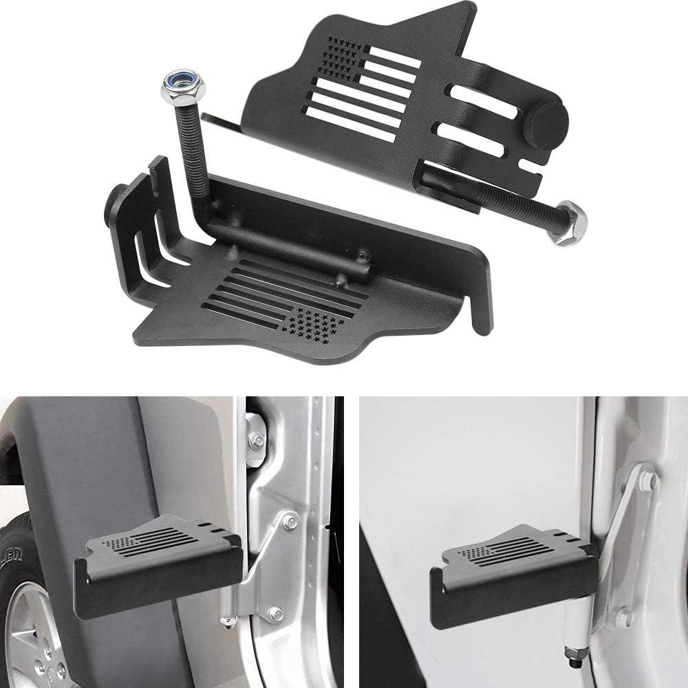 US Flag Front Foot Pegs Doorless Rest Pedal 2 Pcs Black Steel Compatible for Jeep Wrangler JK JKU JL JLU 2007-2020