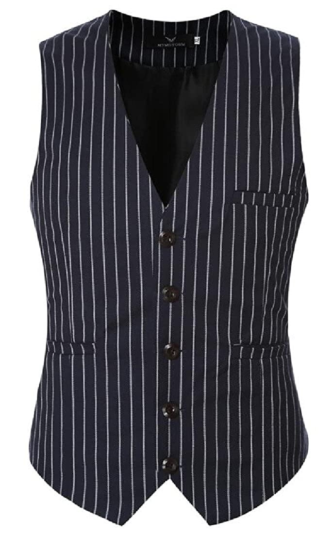 ainr Mens Classic Stripes Slim Fit Single-Breasted Tailored Collar Suit Vest