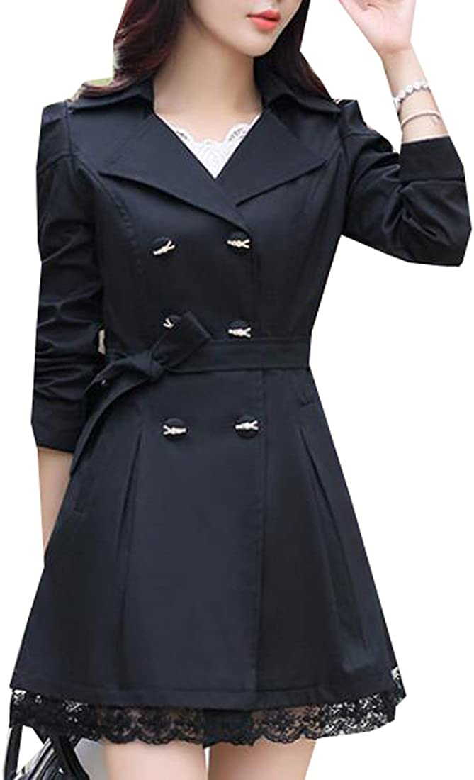 Pandapang Womens ClassicDouble Breasted Belted Long Jacket Trenchcoat Black M